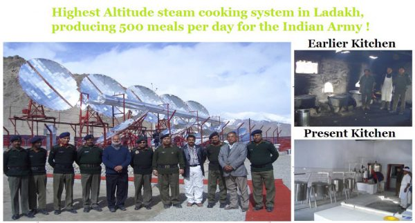 World's highest altitude Solar Steam Cooking system in Ladakh, producing 500 meals per day for the Indian Army in -40°C temperature conditions !!!!